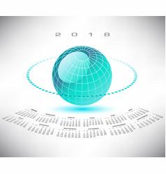 a bluegreen globe 2018 calendar vector image