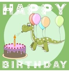 Happy Birthday greeting card Cake balloons dino vector image vector image