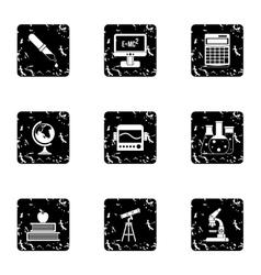 Study icons set grunge style vector