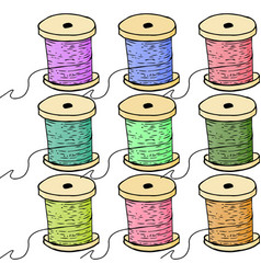 colorful spools of thread set of bobbin vector image