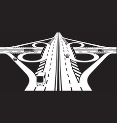 intersection of two highways vector image vector image