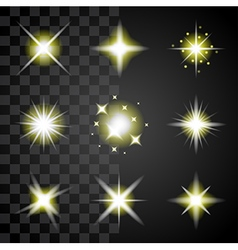Transparent stars and sparkles icons set vector image vector image