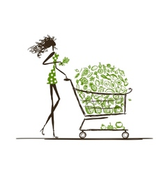 Woman shopping with food trolley in supermarket vector image vector image