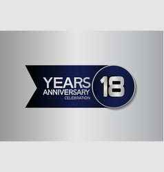 18 years anniversary logo style with circle vector