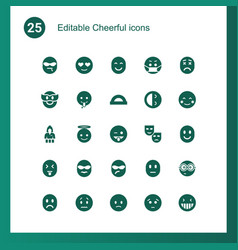 25 cheerful icons vector