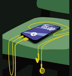 alarm clock smartphone with headphones vector image