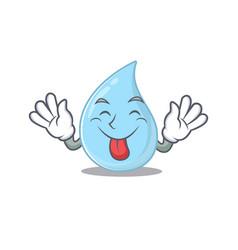 An amusing face raindrop cartoon with tongue out vector