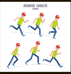 Animated character example with boy in motion vector