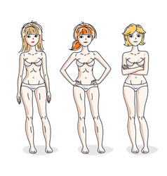 attractive young women group standing in white vector image