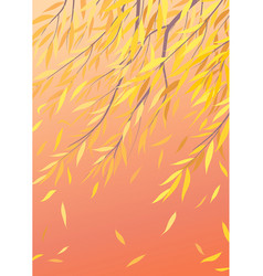 Autumn background with falling yellow leaves vector