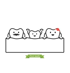 baby tooth in funny family - first teeth concept vector image