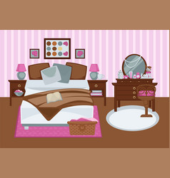 Bedroom for girl in pink colors flat vector