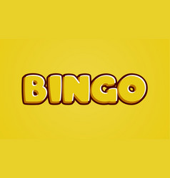 bingo yellow text effect template with 3d type vector image