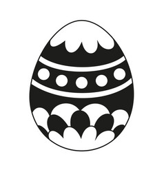 Black and white painted easter egg silhouette vector