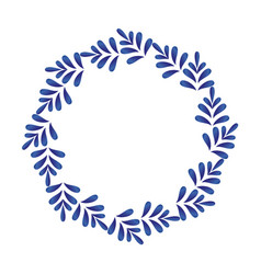 blue leaves decorative round vector image