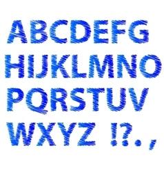 Blue Sketch Alphabet vector image
