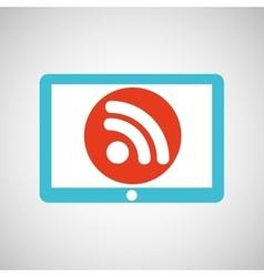 Blue tablet cartoon wifi technology design vector