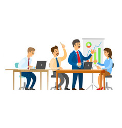 boss with workers seminar presentation whiteboard vector image