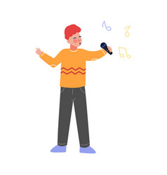 Boy singing with microphone talented teenager vector