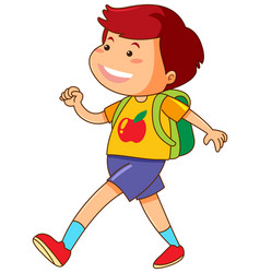 Boy with green backpack walking vector