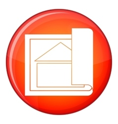Building plan icon flat style vector