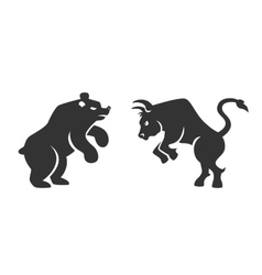 bull and bear financial icons vector image vector image