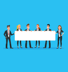 Business people holding banner man and woman vector
