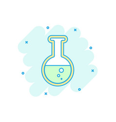 cartoon colored chemical test tube icon in comic vector image