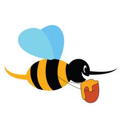 cartoon honey bee on white background vector image