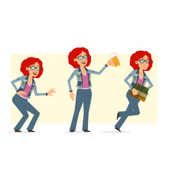 cartoon redhead hippie woman character set vector image