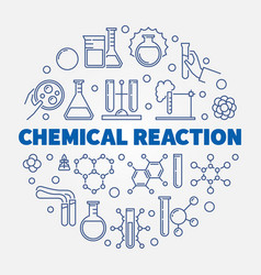 Chemical reaction concept round outline vector