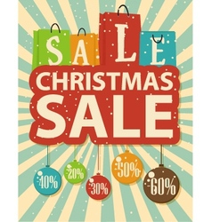 Christmas sale design with shopping bag vector image
