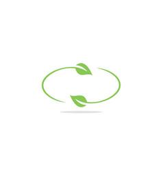 circle leaf nature eco organic logo vector image
