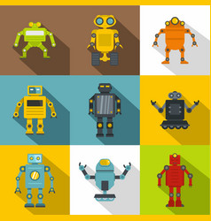 clever machines icon set flat style vector image