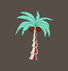 Coconut hand drawn sketch with palm leaf sketch vector