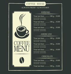 Coffee menu with cup of coffee and price list vector