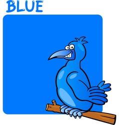 Color Blue and Bird Cartoon vector