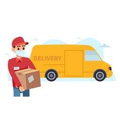 Courier with medical mask man holding box vector