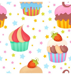 Cute colorful seamless pattern with muffins vector