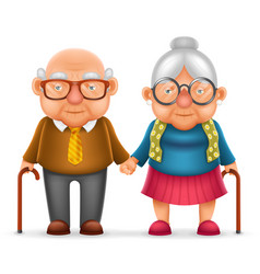 Cute smile happy elderly couple old man love woman vector