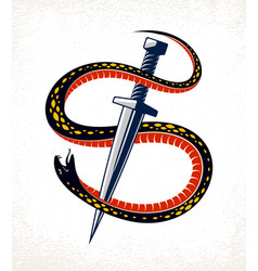 dagger kills a snake defeated serpent wraps vector image