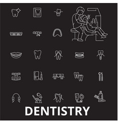 dentistry editable line icons set on black vector image