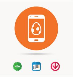 Dinosaur egg icon smartphone device symbol vector
