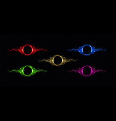 electric lightning circle with color glow effect vector image