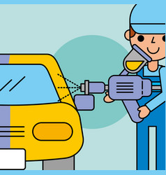 Employee painting machine car service vector