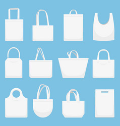 fabric bag eco canvas bags white shopping bagful vector image