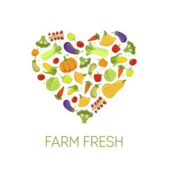 Farm fresh colorful vegetables in shape of heart vector