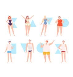 Five types male and female body shapes set vector