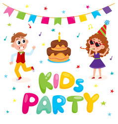 flat kids at party with confetti flags vector image