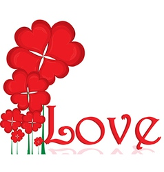 Flowers with love typography vector